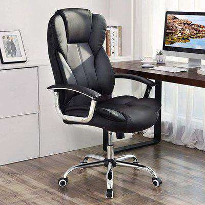 Perris Faux Leather Swivel Home And Office Chair In Black