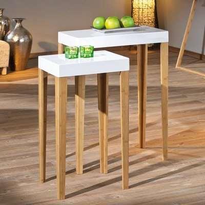 Phil White Gloss Finish Square Shape Set Of 2 Side Tables