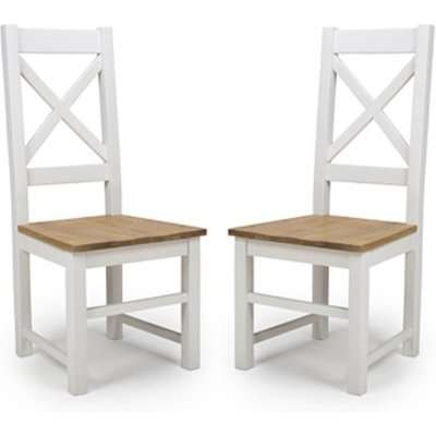 Portbling Cross Back Wooden Dining Chairs In Pair