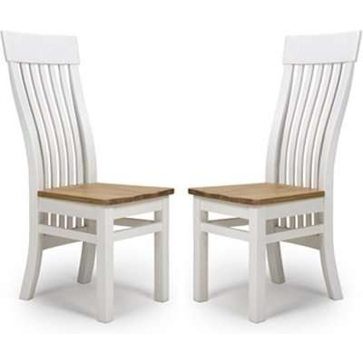 Portbling Slat Back Wooden Dining Chairs In Pair