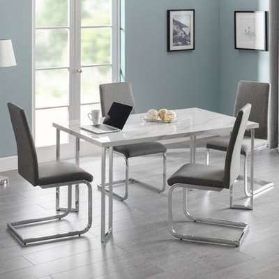 Positano Dining Set In White With 4 Slate Grey Fabric Chairs