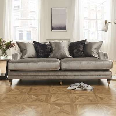 Preston 4 Seater Sofa In Pewter Velvet With Dark Wooden Legs