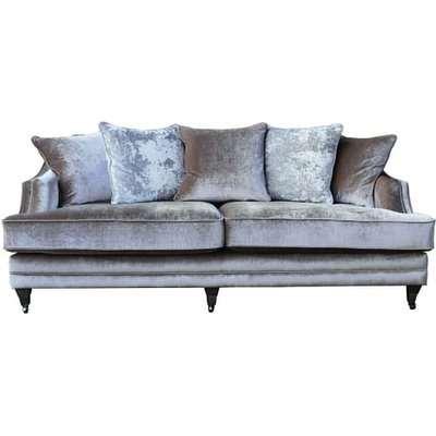 Preston 4 Seater Sofa In Champagne Velvet With Dark Wooden Legs