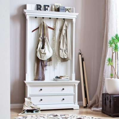 Proviko Wooden Coat Rack With Drawers In Classic White