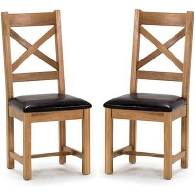 Ramore Cross Back Natural Wooden Dining Chairs In Pair