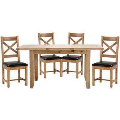 Ramore Extending Dining Set In Natural With 4 Ladder Back Chairs