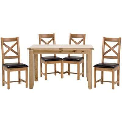 Ramore Fixed Dining Set In Natural With 4 Ladder Back Chairs