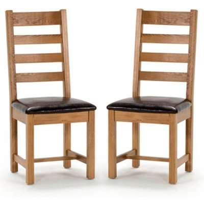 Ramore Ladder Back Natural Wooden Dining Chairs In Pair
