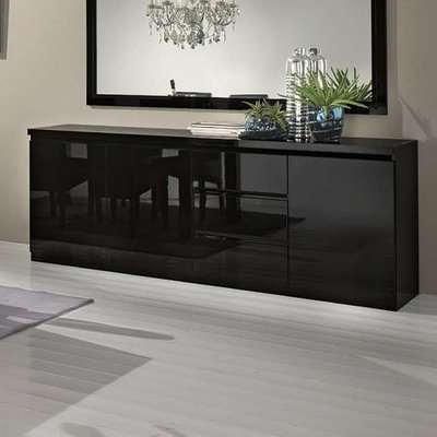 Regal Sideboard In Black With High Gloss Lacquer And 3 Doors