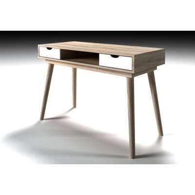 Rhine Wooden Laptop Desk In Sonoma Oak With 2 White Drawers