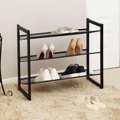Rohnert 3 Tier Metal Mesh Shelves Shoe Storage Rack In Black