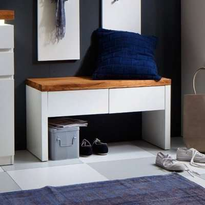 Romina Shoe Bench In Knotty Oak And Matt White With 2 Drawers