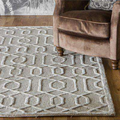 Rosecare Viscose And Wool Fabric Rug In Natural