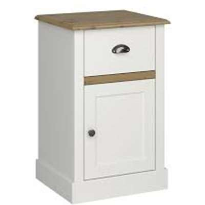 Sandringham Side Table In White And Pine With 1 Drawer
