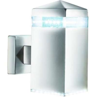 Satin Silver LED Outdoor Wall Light With Clear Diffuser