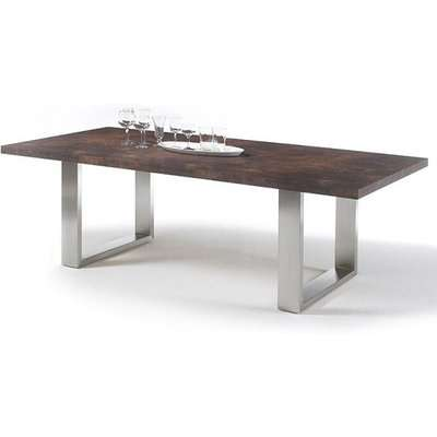 Savona Dining Table Large In Rust With Stainless Steel Legs