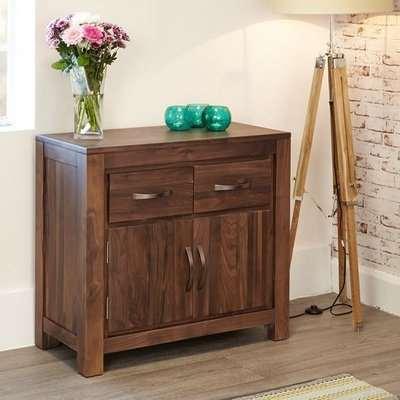 Sayan Wooden Compact Sideboard In Walnut With 2 Doors