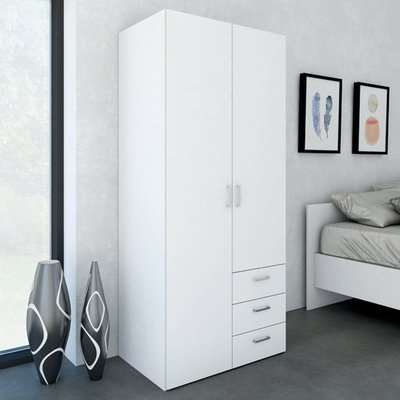 Scalia Wooden Wardrobe In White With 2 Doors And 3 drawers