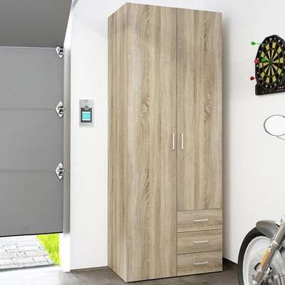 Scalia Wooden Wardrobe In Oak With 2 Doors 3 Drawers
