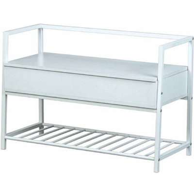 Shoeplace Wooden Shoe Bench In White With Metal Frame