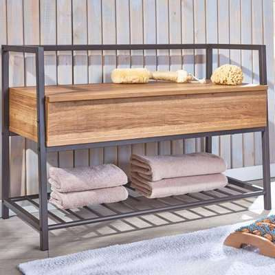 Shoeplace Wooden Shoe Bench In Natural Oak With Metal Frame