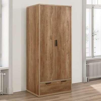 Silas Wooden Wardrobe In Rustic Oak Effect With 2 Doors