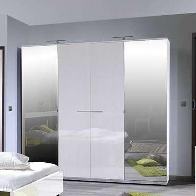 Sinatra White High Gloss Finish 4 Door Wardrobe With 2 Mirror