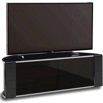 Sinter Medium Corner High Gloss Push Doors TV Stand In Black