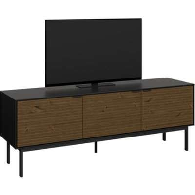 Soma Wooden TV Sideboard In Black And Pine With 3 Doors