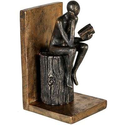 Steampunk Bookend Human Poly Sculpture In Antique Gold And Black