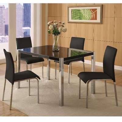 Stefan Hi-Gloss Black Dining Table And 4 Chairs