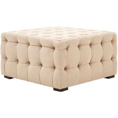 Poerava Linen Button Tufted Footstool In Beige