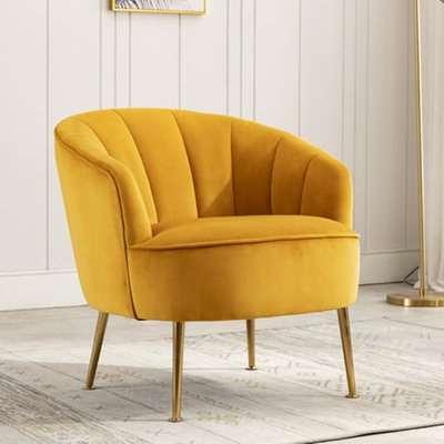 Stelloma Velvet Upholstered Tub Chair In Apricot