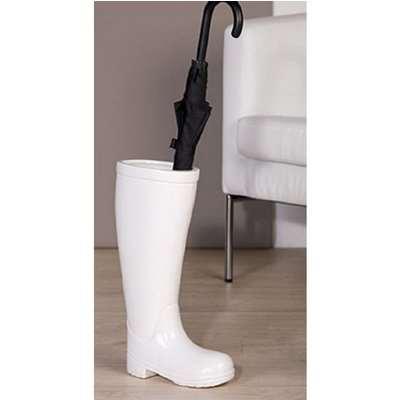 Stiefel Rain Boot Ceramic Umbrella Stand In White