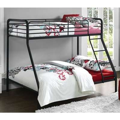 Sturdy Metal Single Over Double Bunk Bed In Black