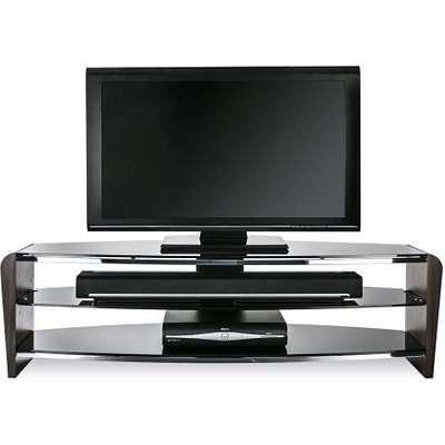 Sunbury Medium Wooden TV Stand In Black With Black Glass
