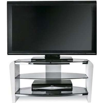 Sunbury Wooden TV Stand In White Wood With Black Glass