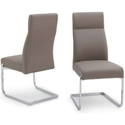 Swiss Cantilever Dining Chair In Grey Faux Leather In A Pair