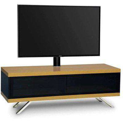 Tecula Hybrid Gloss 2 Compartments TV Stand In Black And Oak