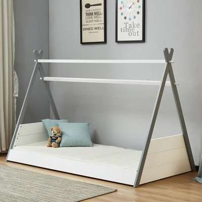 Teepee Wooden Single Bed In White And Grey