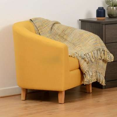 Tempo Fabric Upholstered Tub Chair In Mustard
