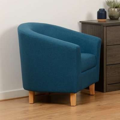 Tempo Fabric Upholstered Tub Chair In Petrol Blue
