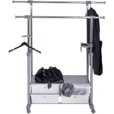 Thomas 2 Double Clothes Rack Railing With 4 Plastic Drawer