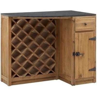 Tobik Wooden Bar Storage Cabinet With Wine Rack In Natural