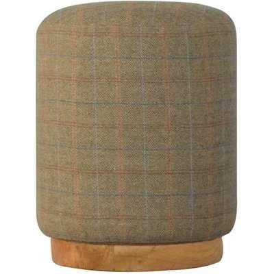Trenton Fabric Round Footstool In Multi Tweed With Oak Base