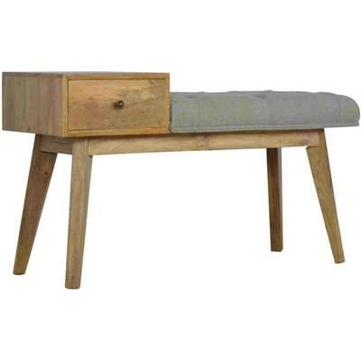 Trenton Hallway Bench In Grey Tweed And Oak Ish with 1 Drawer