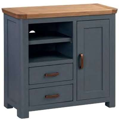 Trevino Wooden TV Sideboard In Midnight Blue And Oak