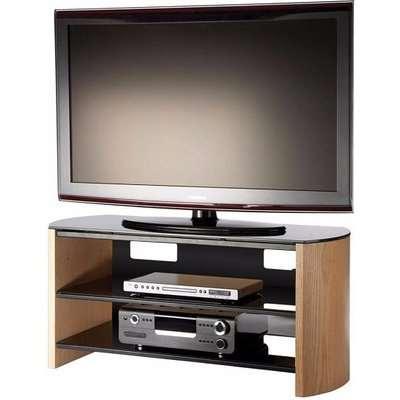 Trosper Medium Wooden TV Stand In Light Oak With Black Glass