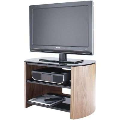 Trosper Small Wooden TV Stand In Light Oak With Black Glass