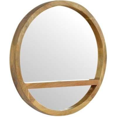 Tufa Round Wall Mirror In Oak Ish Wooden Frame With 1 Shelf